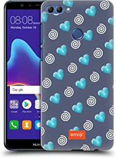 Official Emoji Hearts and Swirls Winter Patterns Hard Back Case Compatible for Huawei Y9 2018 / Enjoy 8 Plus