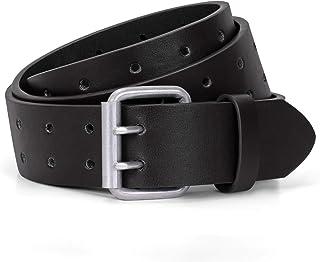 JASGOOD Men Double Prong Belt,Black Work PU Leather Belts for Men Jeans-Casual Belts for Women for Dresses,A-Black,Fit Pan...