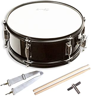 Snare Drum Set Student Steel Shell 14 X 5.5 Inches, Includes Drum Key, Drumsticks and Strap