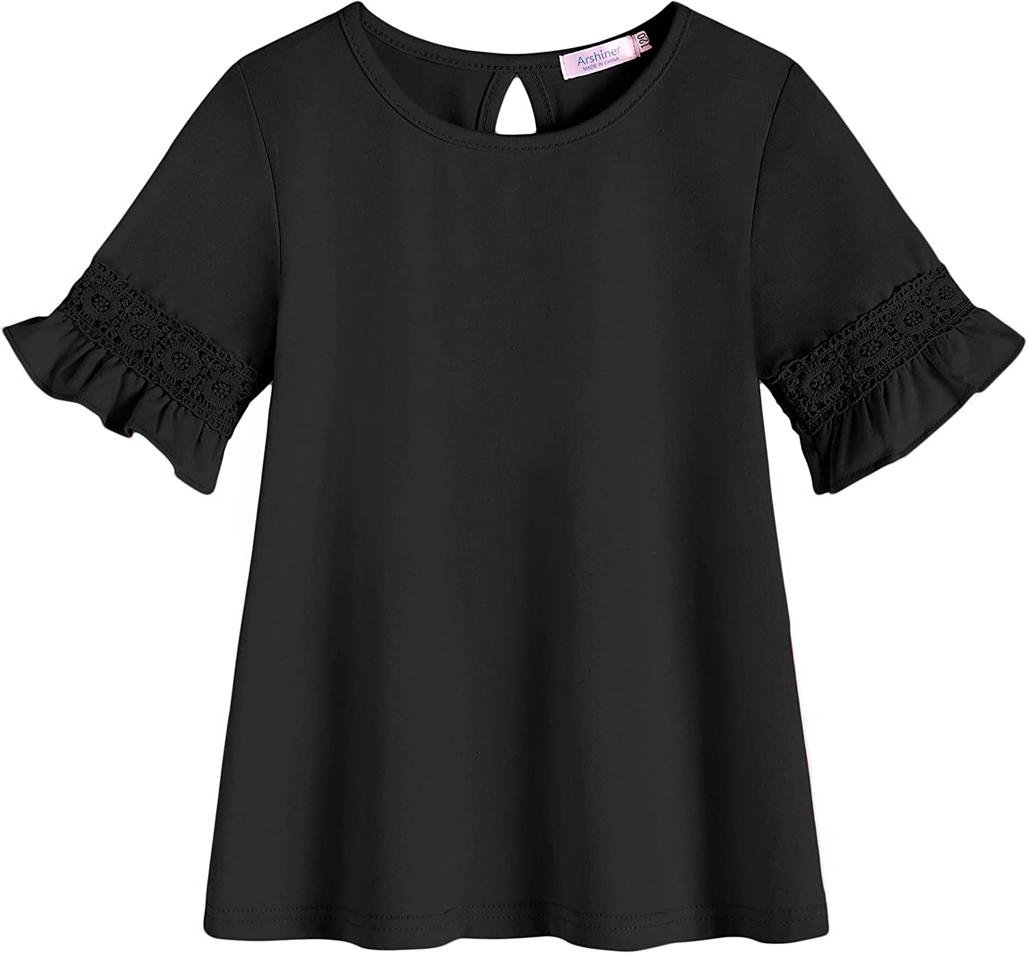 Arshiner Girls T-Shirt Kids Casual Tunic Tops Lace Short Sleeve Loose Soft Blouse