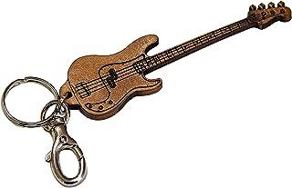 Fender Precision Bass inciso in Vera Pelle - Portachiavi Chitarra - Etabeta Artigiano Toscano - Made in Italy (marrone)