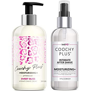 Coochy Plus Intimate Shaving Complete Kit - SWEET BLISS & Organic After Shave Protection Soothing Moisturizer Mist – Antibacterial & Antioxidant Formula Prevents Razor Burns, Itchiness & Ingrown Hairs