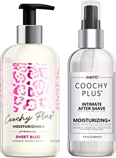 Coochy Plus Intimate Shaving Complete Kit - SWEET BLISS & Organic After Shave Protection Soothing Moisturizer Mist – Antib...