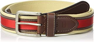 Tommy Hilfiger Mens Ribbon Inlay Belt - Fabric Belt with Single Prong Buckle