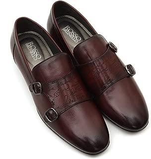 ROSSO BRUNELLO Mens Burgundy Signato Monk Strap Italian Leather Shoes