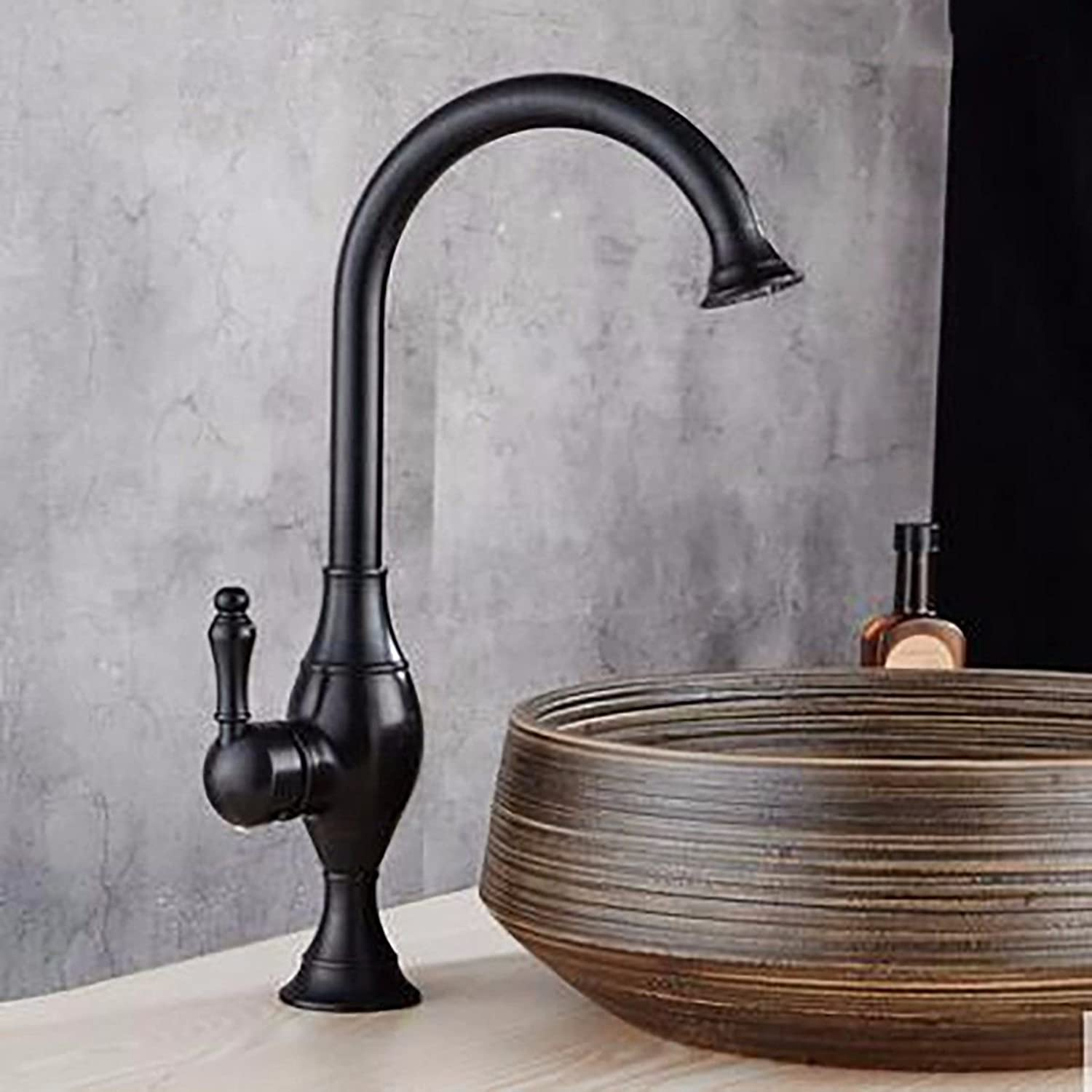 Lpophy Bathroom Sink Mixer Taps Faucet Bath Waterfall Cold and Hot Water Tap for Washroom Bathroom and Kitchen Copper Hot and Cold Water redating Black Bronze C