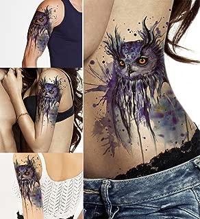 DaLin Large Temporary Tattoos, 4 Sheets (Blue Owl)