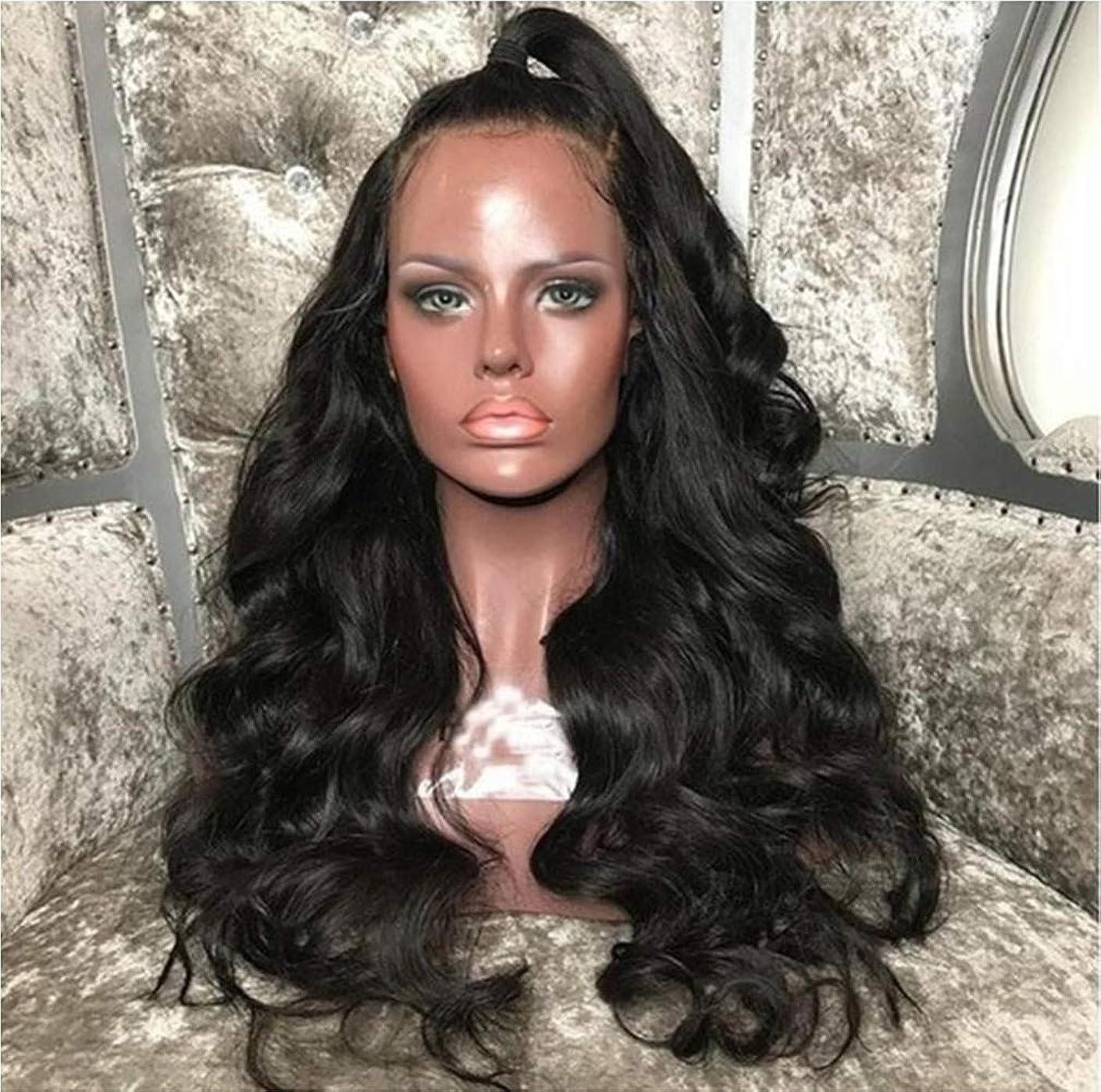 多用途ヤギに渡って女性のかつら150%密度フロントレース人間の髪の長い波合成ブラジルかつら自然ミドルかつら