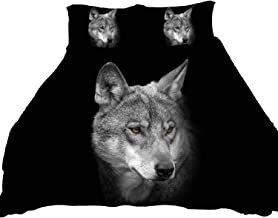 LUOHOME 3 Pcs Soft Luxury Youth 100% Polyester Shell Fully Reversible 3-Piece Modern 3D Wolf Print Duvet Cover Set Twin Size Full Size Queen Size King Size Blue No Comforter (Twin)