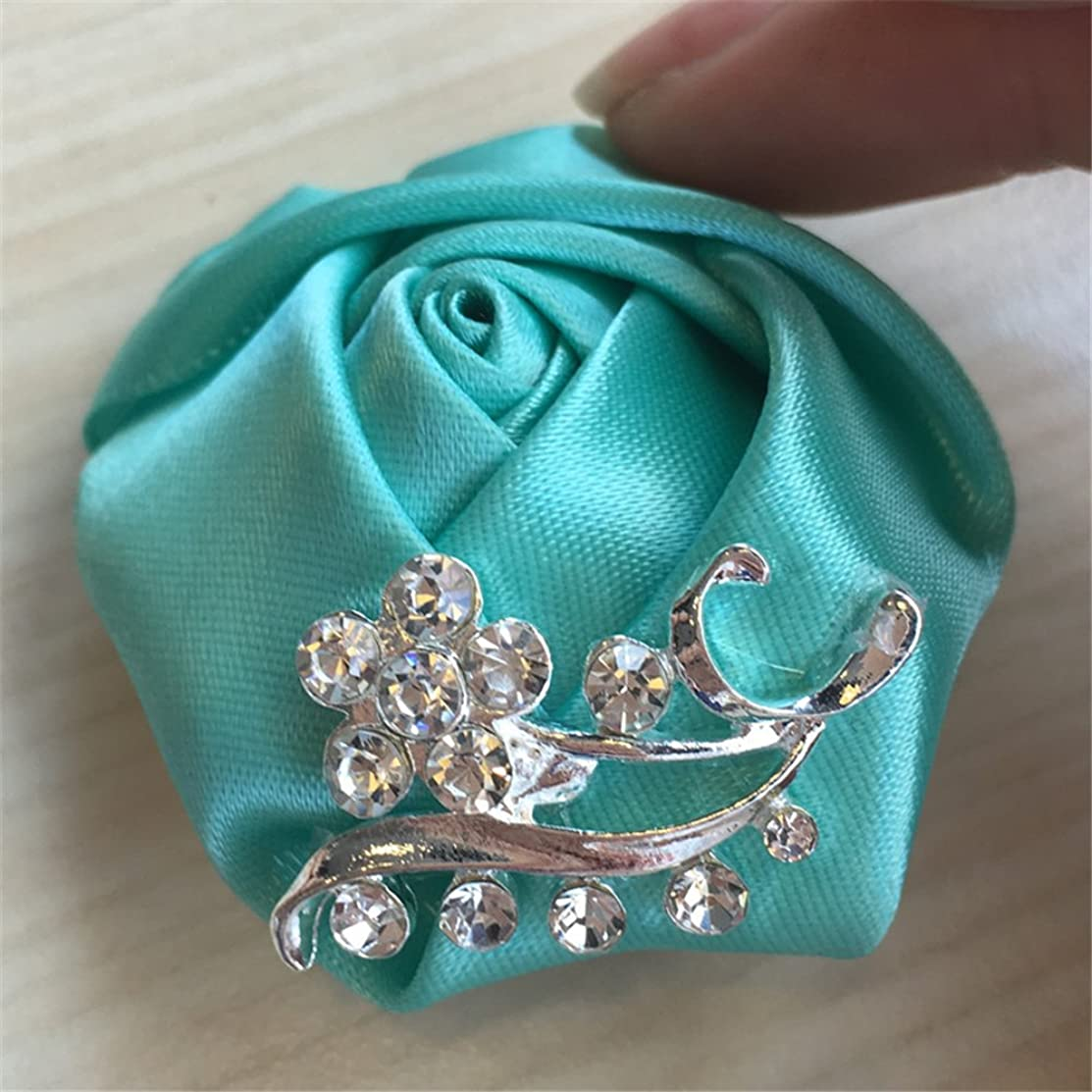 USIX 6pc Pack-Handmade Men's Women's Multi Solid Color Satin Flower Rose Crystal Rhinestone Boutonniere Brooch Pin for Suits Dresses Scarf Decoration Accessories Jewelry(Tiffany Blue)