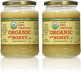 YS Organic Bee Farms CERTIFIED ORGANIC RAW HONEY 100% CERTIFIED ORGANIC HONEY Raw, Unprocessed, Unpasteurized - Kosher 32oz (Pack of 2)