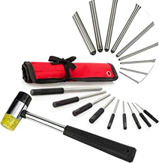 Best Roll Pin Punch Set & Mallet for Manly Men, 9 pc Comfort Grip Tools With Bonus Storage Case, Great for Gunsmiths, Jewelry and Watch Repair & Handyman, 1 Hand Pin Remover Tool Kit!
