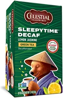 Celestial Seasonings Green Tea, Sleepytime Decaf Lemon Jasmine, 20 Count (Pack of 6)