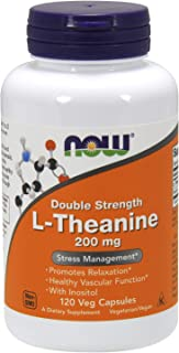 NOW Supplements, L-Theanine 200 mg with Decaf Green Tea, 120 Veg Capsules