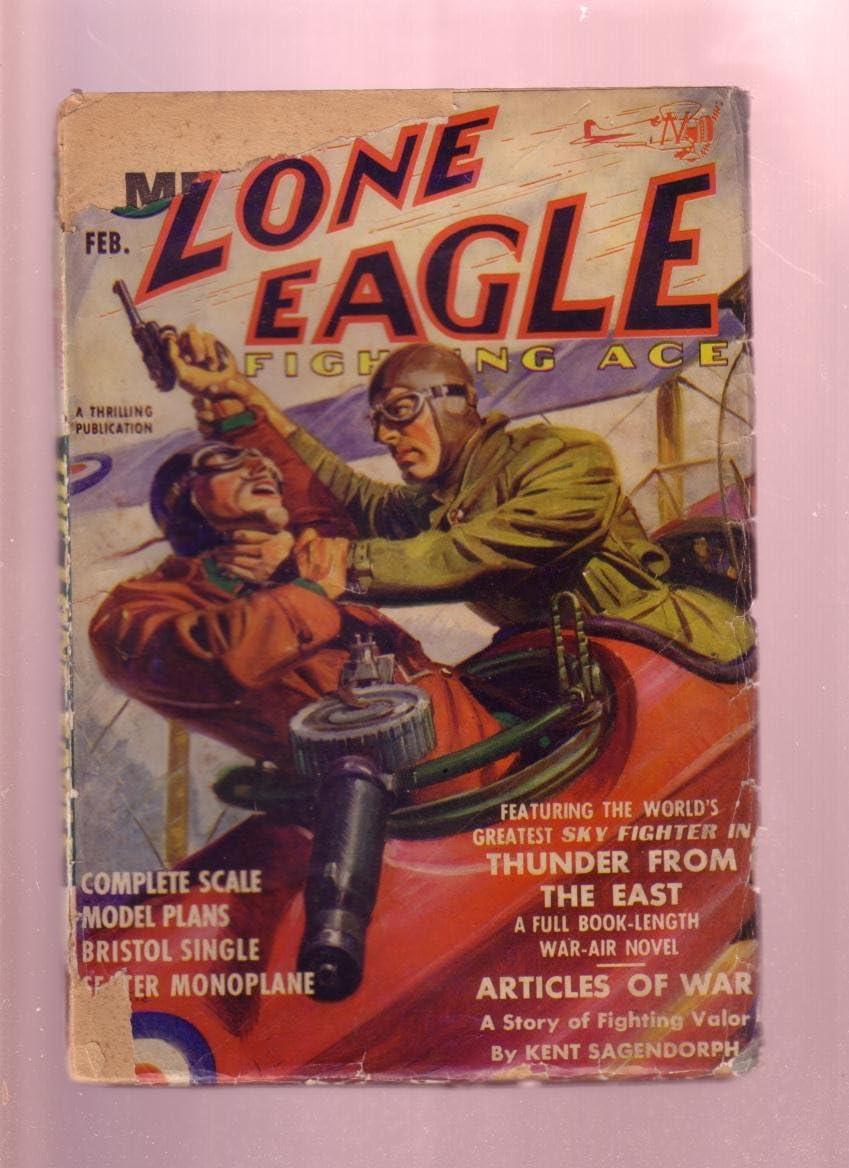 Fashion LONE EAGLE-FIGHTING ACE FEB 1939-PULP-WW I BI-PLANE CVR Be super welcome G-