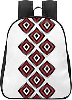 Country Trendy Style Backpack,Native American Style Zig Zag Aztec Motif with Embroidery Ornaments Image Decorative for Summer Camps,One_Size
