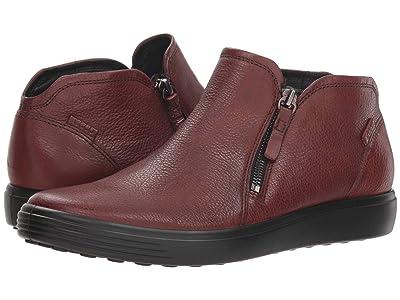 ECCO Soft 7 Low Cut Zip Bootie (Cognac Cow Leather) Women