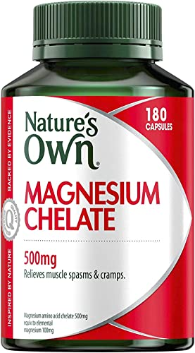 Nature's Own Magnesium Chelate 500mg - Supports Nerve and Muscle Function - Promotes Healthy Heart and Bones, 180 Cap...