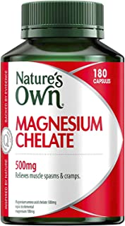 Nature's Own Magnesium Chelate 500mg - Supports Nerve and Muscle Function - Promotes Healthy Heart and Bones, 180 Capsules