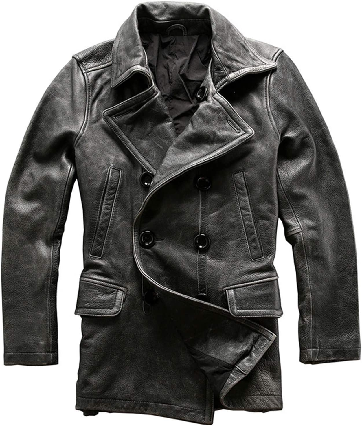 Snhpk Men's Genuine Leather Jacket Lapel Double Breasted Vintage Distressed Motorcycle Moto Mid Long Overcoat,Gray,XL