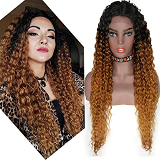 Middle Lace Front Part Long Loose Curly Natural Wigs Heat Resistant Replacement wig Half Hand Tied Full Wig Synthetic Lace Front Wigs for Women (Ombre Brown(4/30/27))