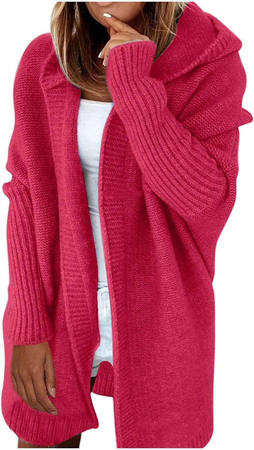 Womens Free Shipping New 2021 new Chunky Knit Long Cardigan Open Front Sleeve Sweater
