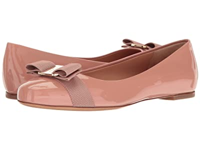 Salvatore Ferragamo Varina Ballet Flat w/ Bow (New Blush Patent) Women