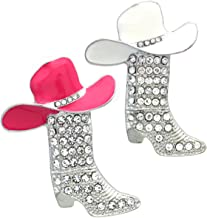 Soulbreezecollection Lucky Western Cowboy Boots Brooch Pink & White Hat Pin Charm Enamel Jewelry