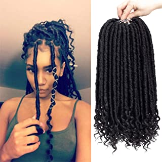 6 Packs Straight Goddess Locs With Curly Ends Faux Locs Crochet Hair Soft Dreadlocks Braids Hair Prelooped Straight Faux Locs Twist Briading Hair (16 INCH, 1B)