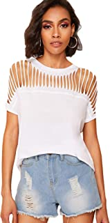 Women's Short Sleeve Slashed Ripped Hollowed Out T-Shirt Tops Blouses