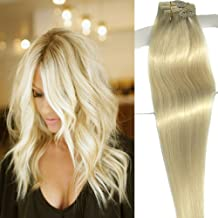 Labetti Clip In Hair Extensions Real Human Hair Extensions 7 Pieces 70g Platinum Blonde Silky Straight Weft Remy Hair (20 inches, #60)
