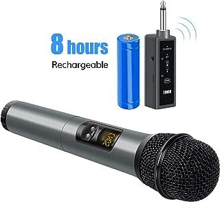 TONOR Micrófono Bluetooth inalámbrico UHF portátil de 10 canales para cantar Karaoke con mini receptor Compatible con teléfono móvil iPad Laptop Boda / Iglesia / Escenario / Fiesta Negro