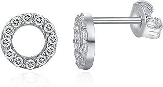 14K Gold Plated CZ Simulated Diamond Earrings Dainty Mini Bar, Halo, Lightning Bolt, Moon Stud Earrings