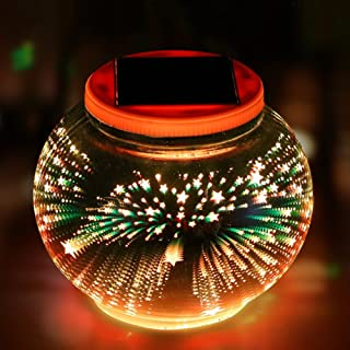 Color Changing Solar Powered Glass Ball Garden Lights, Aukora Solar Table Lights Waterproof Solar Led Night Light for Patio Garden Halloween Christmas Outdoor Decoration, Ideal Gift(Star Pattern)