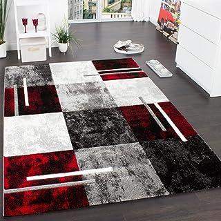 PHC Alfombra Moderna De Diseño Perfilado - A Cuadros En Gris Negro Rojo, tamaño:240x330 cm