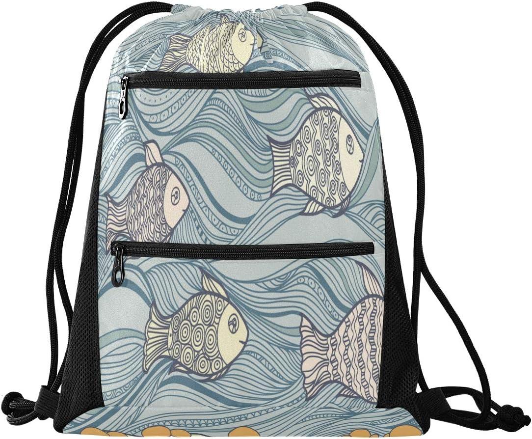 Reusable Cartoon Cute Happy Fish Girl Sport Backpack