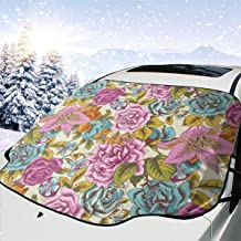 GEEBFDDN Sun Shade Colorful Rose Windshield Snow Cover Ice Removal Wiper Visor Protector - Frost/Water/Scratch/Heat Resistant