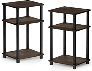 FURINNO Just 3-Tier Turn-N-Tube 2-Pack End Table, Columbia Walnut/Black