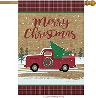 Briarwood Lane Christmas Truck Burlap House Flag Holiday 28