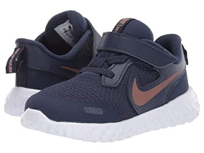 Nike Kids Revolution 5 (Infant/Toddler) (Midnight Navy/Metallic Red Bronze) Boys Shoes