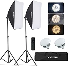 YICOE Softbox Lighting Kit Photography Photo Studio Equipment Continuous Lighting System with 5700K Energy Saving Light Bu...