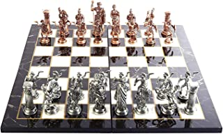 Historical Antique Copper Rome Figures Metal Chess Set for Adults, Handmade Pieces and Marble Design Wood Chess Board King 4.3 inc
