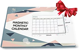 Magnetic Dry Erase Monthly Calendar - Large Magnetic White Board & Grocery List Organizer for Office and Kitchen