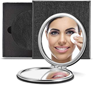 OMIRO Compact Mirror, Classical PU 1X/3X Magnification, Unique Ideas for Gifts (Round,Black)