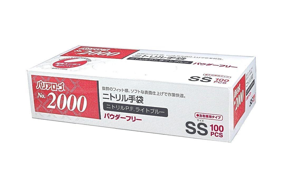 フィード櫛ヘッドレス【ケース販売】 バリアローブ №2000 ニトリルP.F.ライト ブルー (パウダーフリー) SS 2000枚(100枚×20箱)