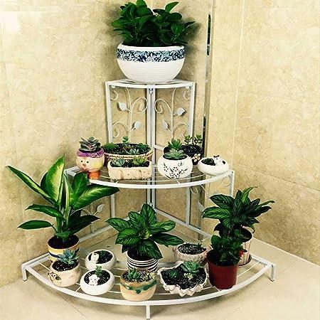 Kundi 3 Tier Plant Stand Floral Corner Shelf Metal Flower Pot Rack Stair-Step Style Display Ladder for Garden Balcony Indoor Outdoor (White) 81cm x 57cm x 70cm (L x W x H) (White)