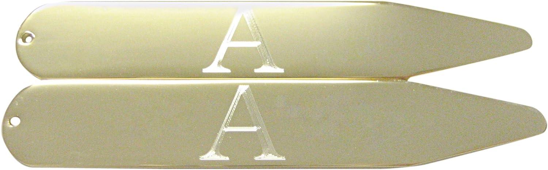Kiola Designs Gold Toned Etched Letter A Monogram Collar Stays
