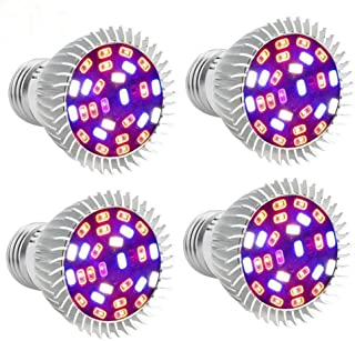 [Pack of 4 ]Led Grow Light Bulb Full Spectrum, highydroLED 28W Plant Light Bulb for Indoor Plant, E26 Socket Screw, Plant Grow lamp for Indoor Garden Hydroponic Greenhouse Hydroponic Plants