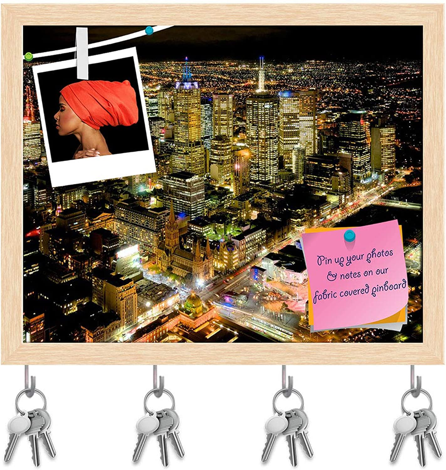 Artzfolio Melbourne at Night Over The Yarra River, Australia Key Holder Hooks   Notice Pin Board   Natural Brown Frame 19.9 X 16Inch