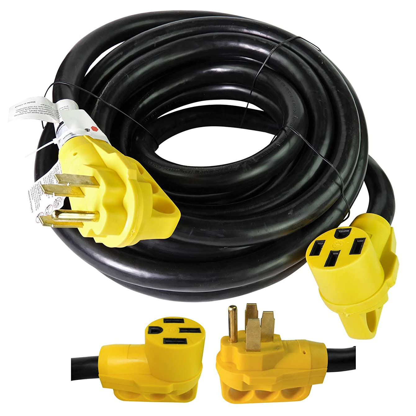 Leisure Cords 30 Ft 50 amp RV Power Extension Cord - 50 Amp Male to 50 Amp Female Standard Plug (50 Amp - 30 Foot)